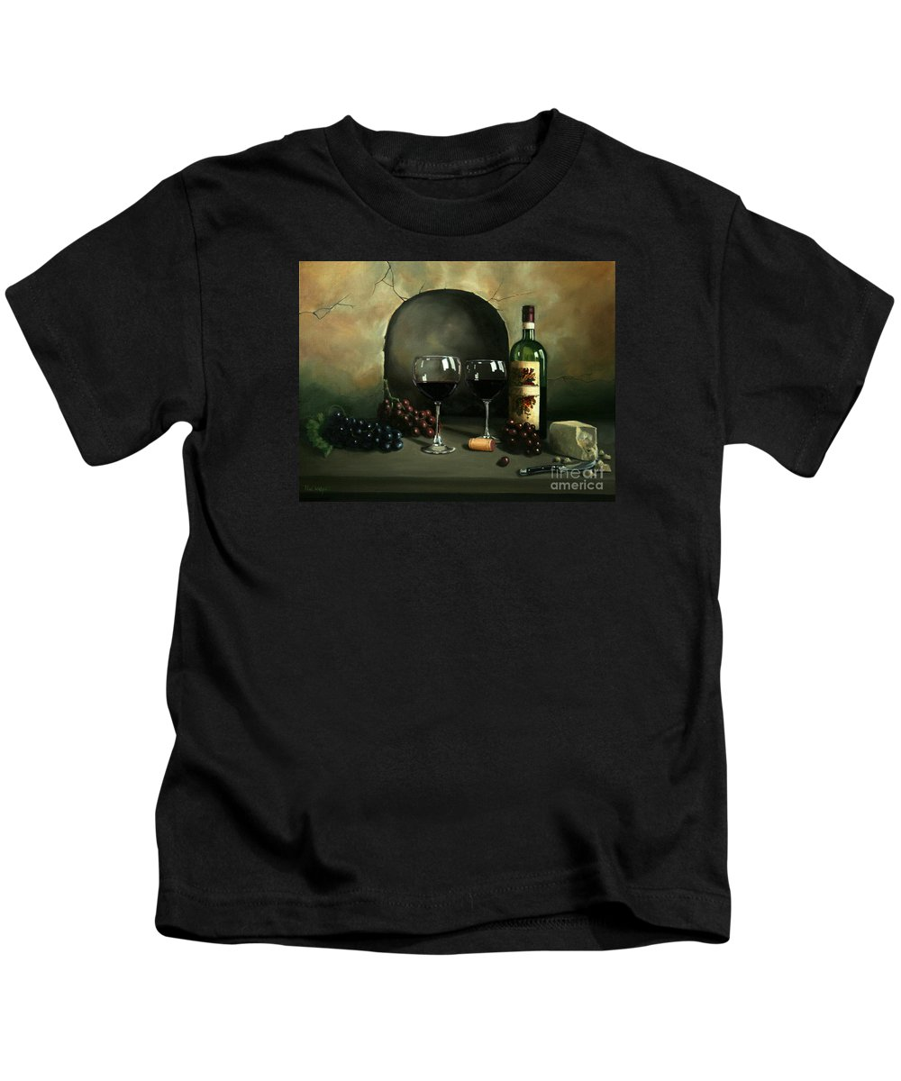 Wine Kids T-Shirt featuring the painting Wine For Two by Paul Walsh