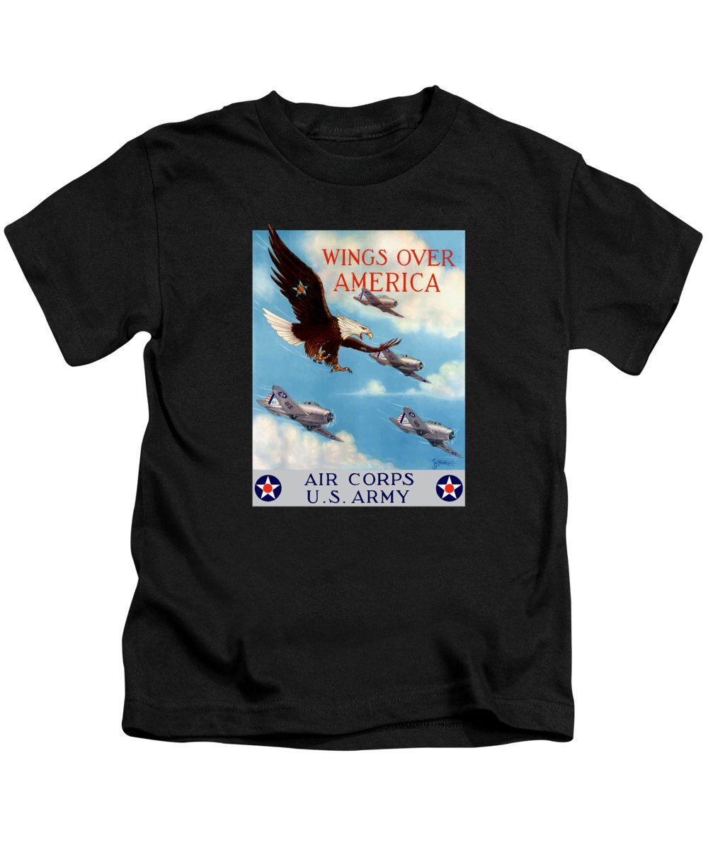 Eagle Kids T-Shirt featuring the painting Wings Over America - Air Corps U.s. Army by War Is Hell Store