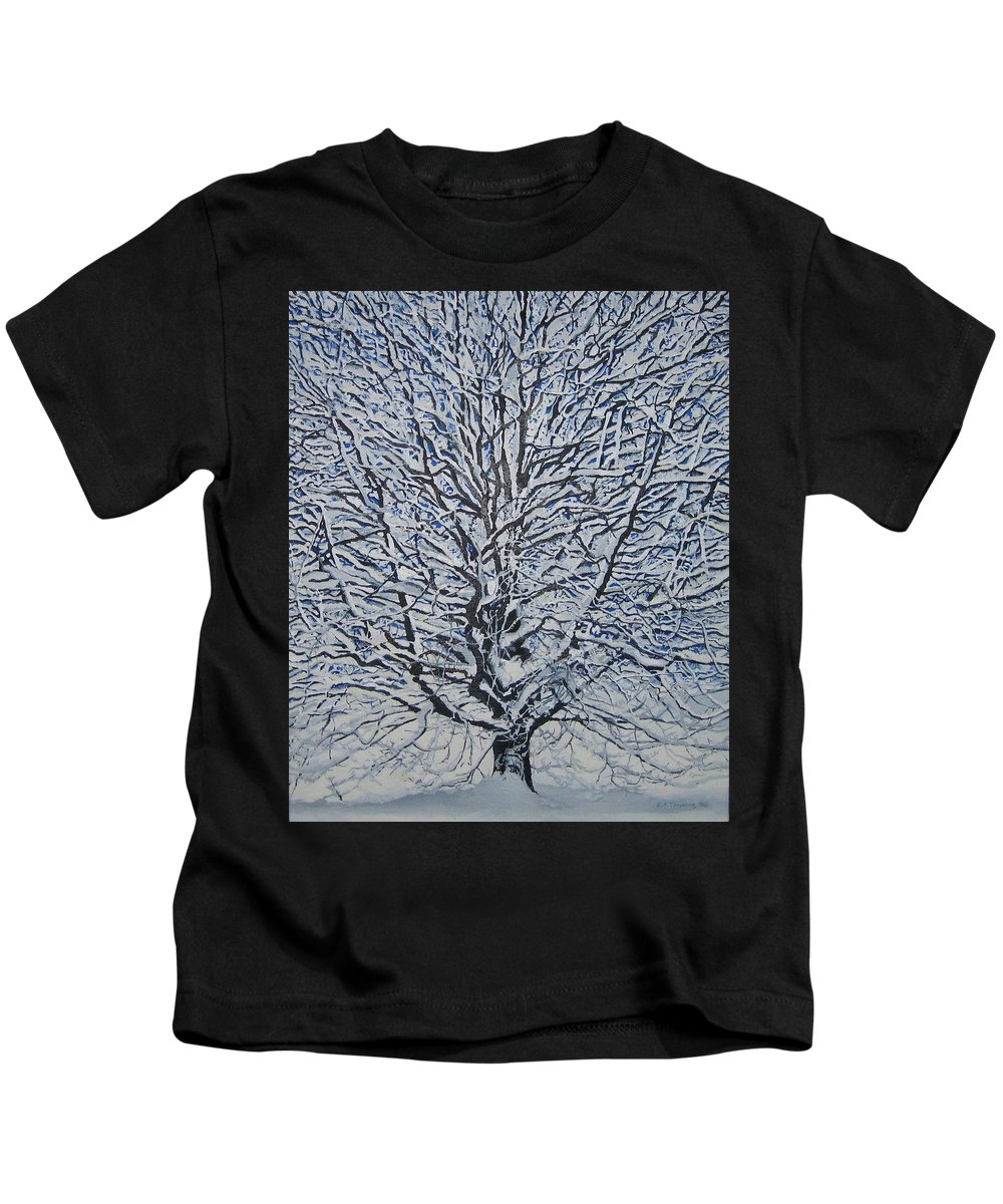 Winter Kids T-Shirt featuring the painting Winter '05 by Leah Tomaino