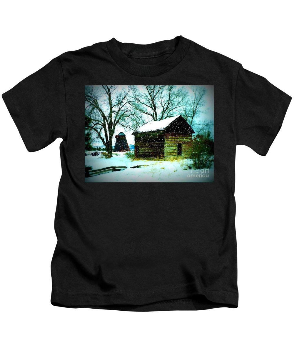 Winter Landscape Kids T-Shirt featuring the photograph Winter Barn And Silo by Carol Groenen