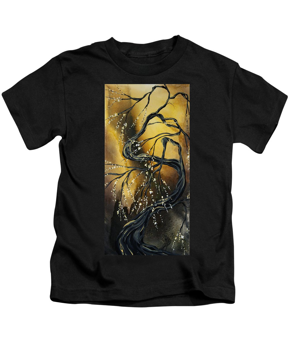 Art Kids T-Shirt featuring the painting Winter Blossom By Madart by Megan Duncanson