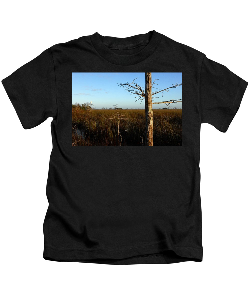 Cypress Trees Kids T-Shirt featuring the painting Winter Cypress by David Lee Thompson