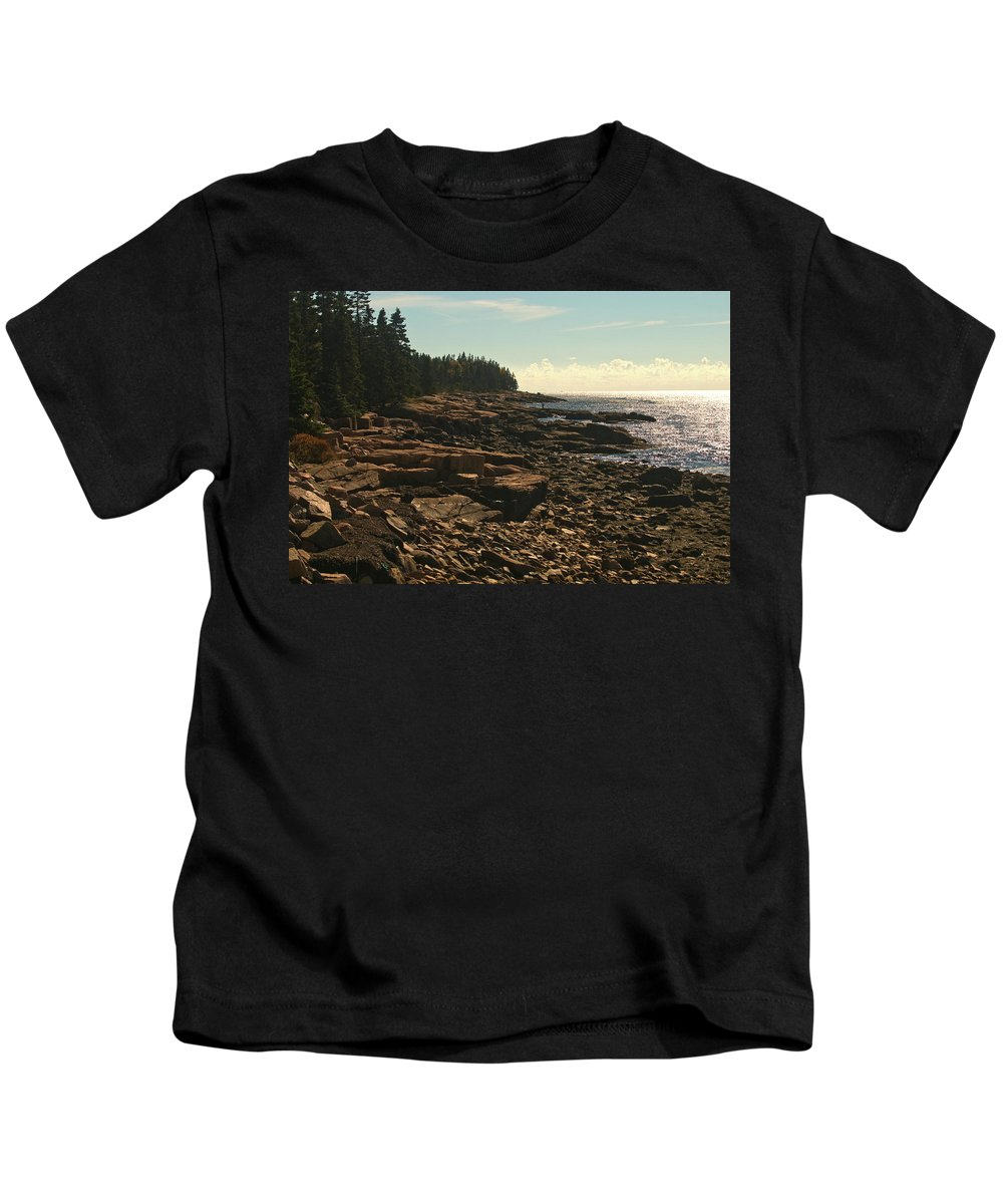 acadia National Park Kids T-Shirt featuring the photograph Winter Harbor Maine by Paul Mangold