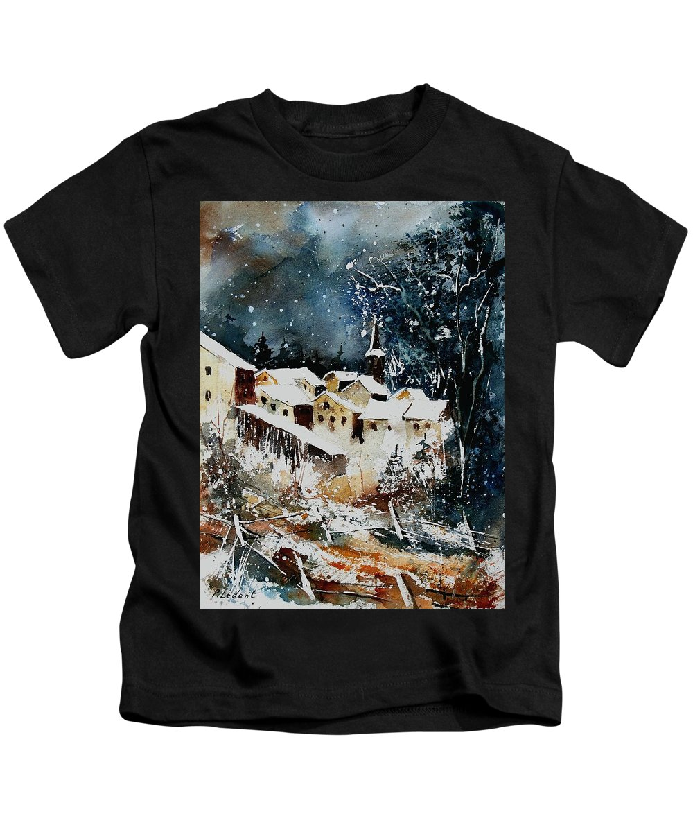 Winter Kids T-Shirt featuring the painting Winter In Vivy by Pol Ledent
