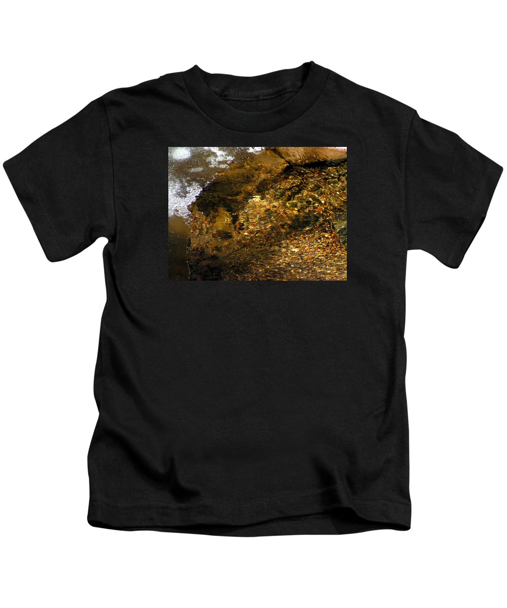Ice Water Creek Rocks Beauty Colorado Change Zen Simple Kids T-Shirt featuring the photograph Winter Leaving by George Tuffy