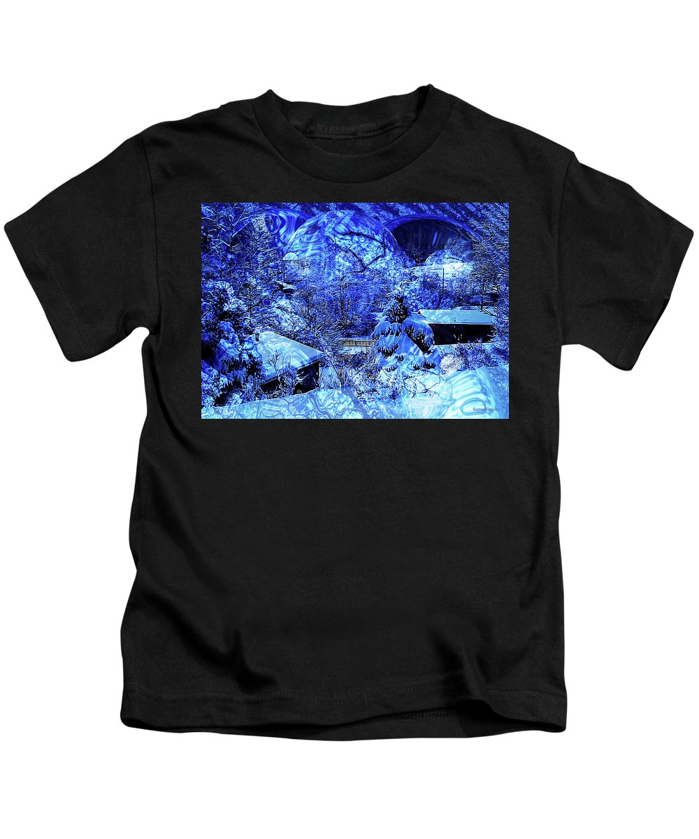 Blue Kids T-Shirt featuring the digital art Winter Solace by Robert Orinski