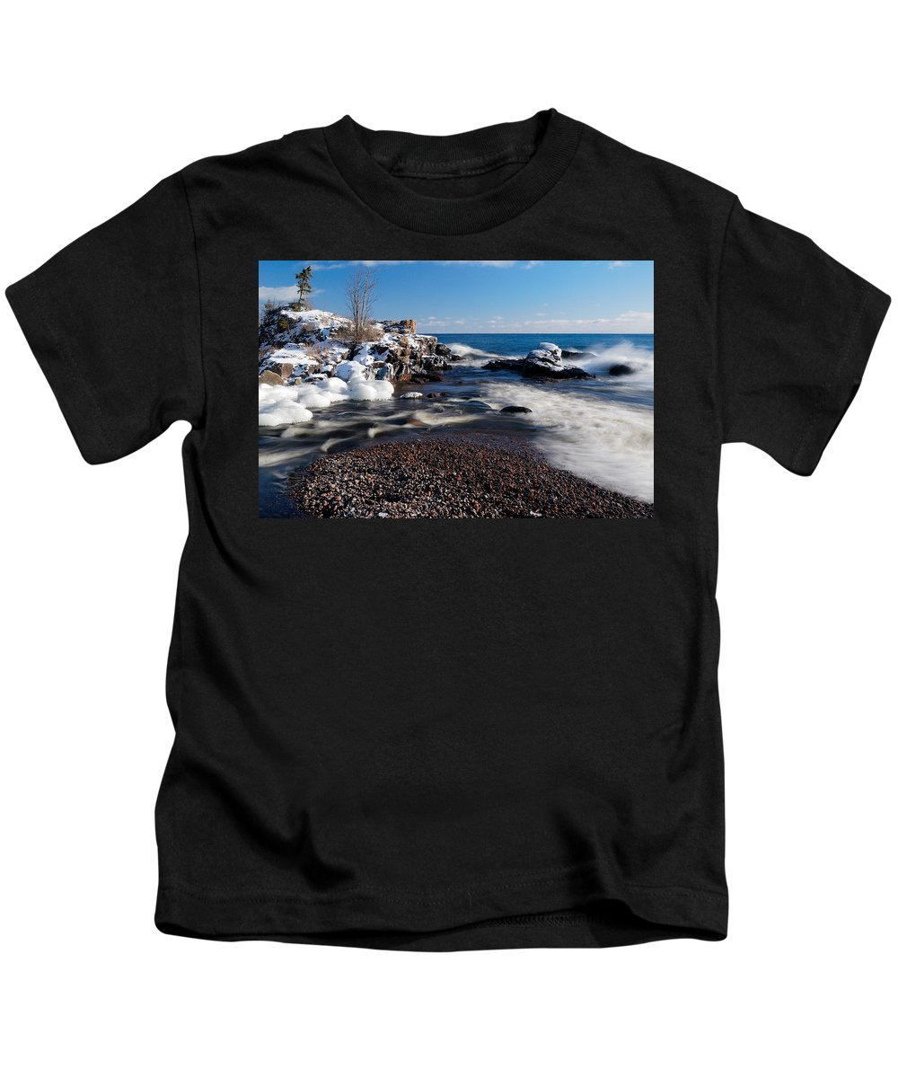 Michigan Kids T-Shirt featuring the photograph Winter Splash by Sebastian Musial