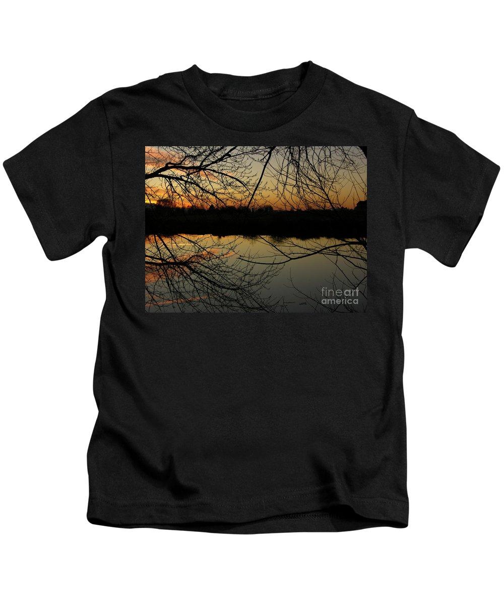 Sunset Kids T-Shirt featuring the photograph Winter Sunset Reflection by Carol Groenen