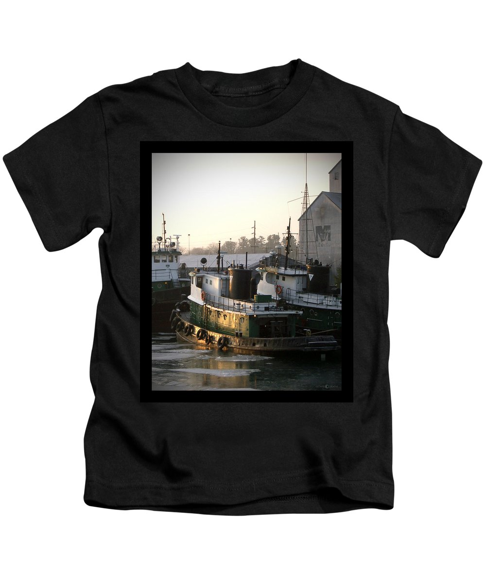 Tugs Kids T-Shirt featuring the photograph Winter Tugs by Tim Nyberg