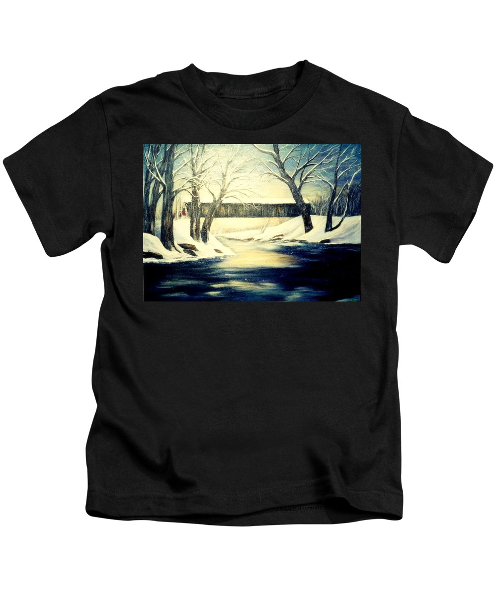 Bridge Kids T-Shirt featuring the painting Winter Walk At Bennett's Mill Bridge by Gail Kirtz