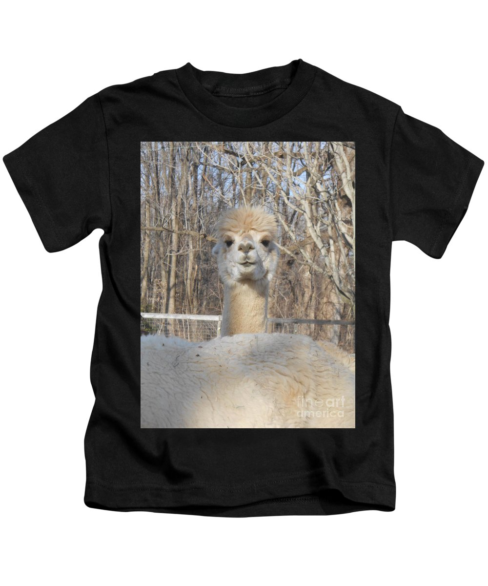 Alpaca Kids T-Shirt featuring the photograph Winter White Alpaca by Karen Quinker