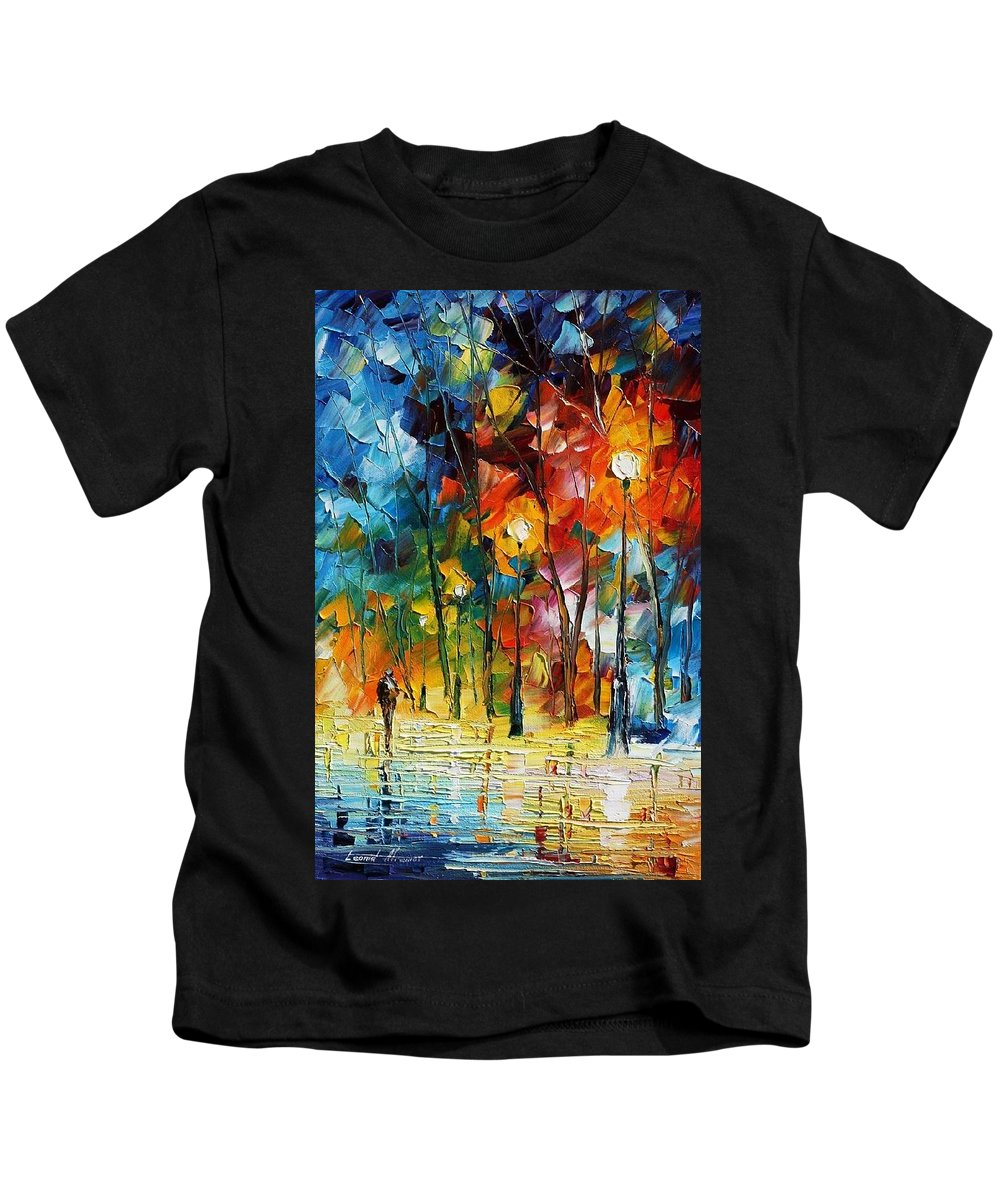 Afremov Kids T-Shirt featuring the painting Winter's Chill Wind by Leonid Afremov