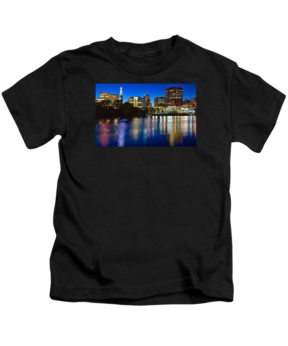Hartford Kids T-Shirt featuring the photograph Hartford Lights by Frozen in Time Fine Art Photography