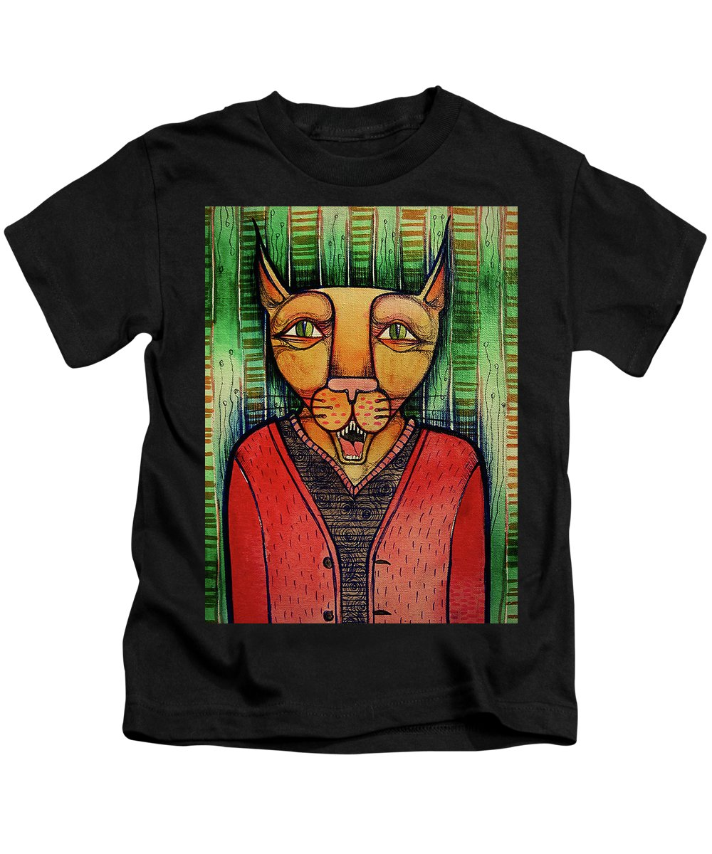 Artwork Kids T-Shirt featuring the painting Wise Cat by Lidia Matviyenko