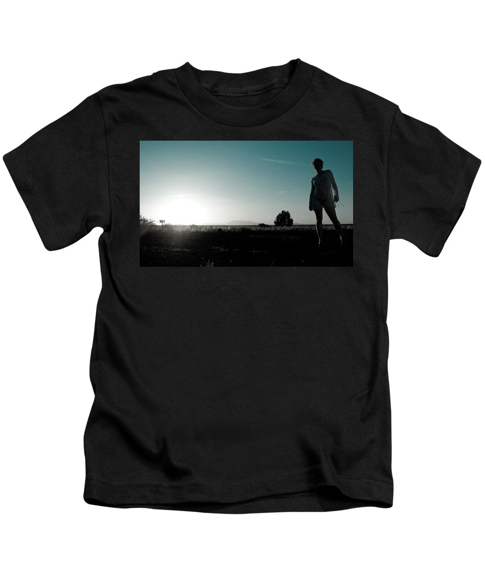 Woman Kids T-Shirt featuring the photograph Woman Standng by Scott Sawyer