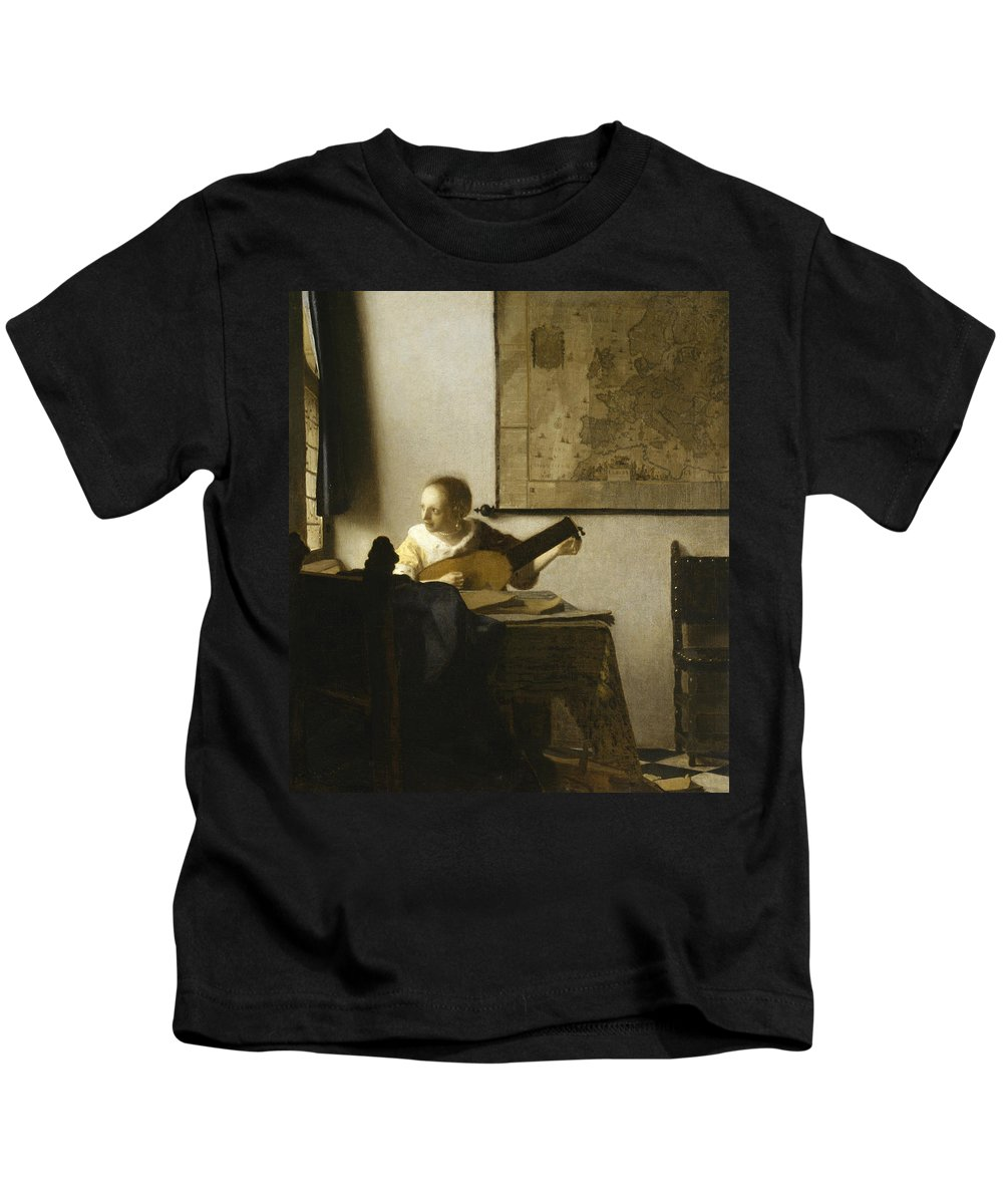 Jan Vermeer Kids T-Shirt featuring the painting Woman With A Lute Near A Window by Jan Vermeer