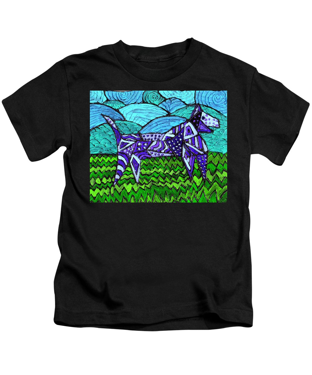 Dog Kids T-Shirt featuring the painting Wonder Dog by Wayne Potrafka