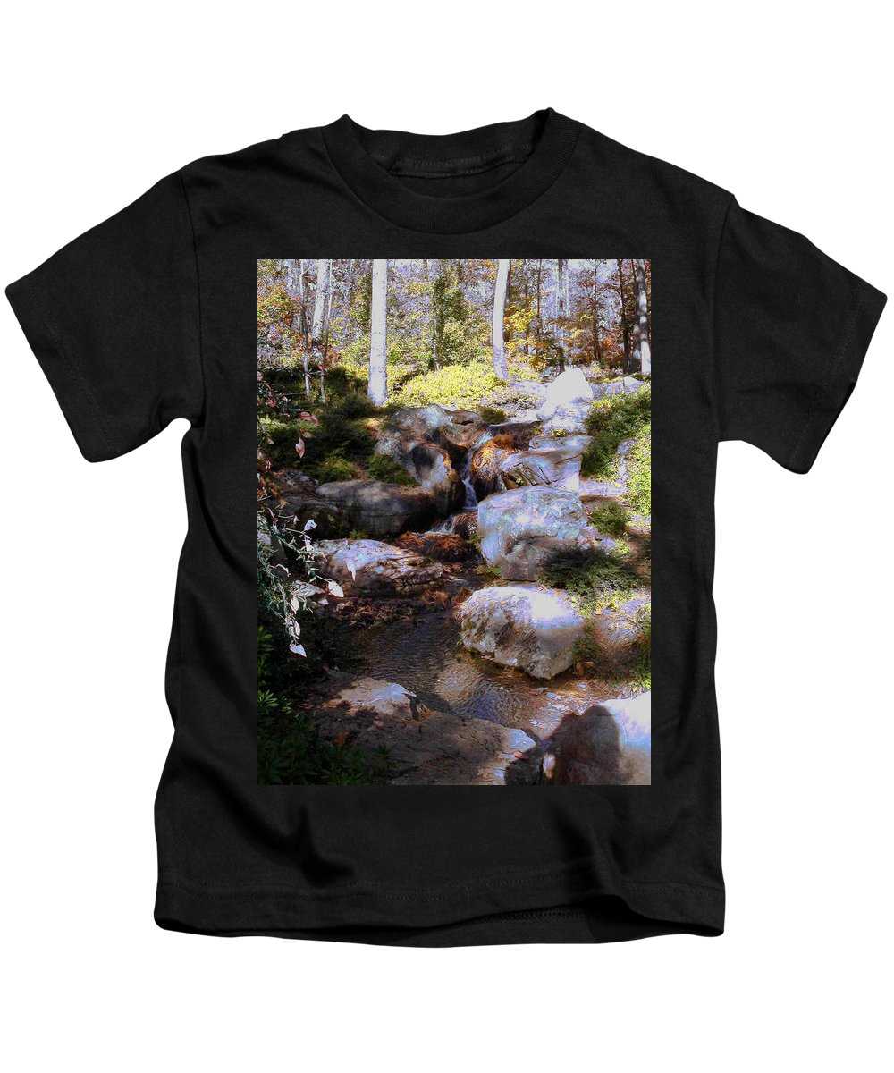 Waterfall Kids T-Shirt featuring the photograph Wooded Blue Brook by Anne Cameron Cutri
