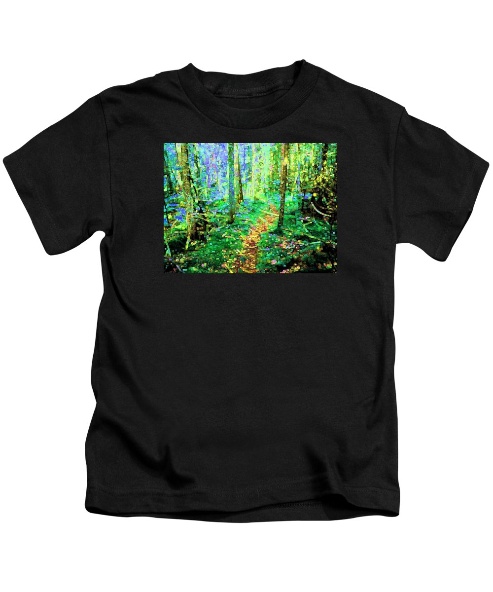 Nature Kids T-Shirt featuring the digital art Wooded Trail by Dave Martsolf