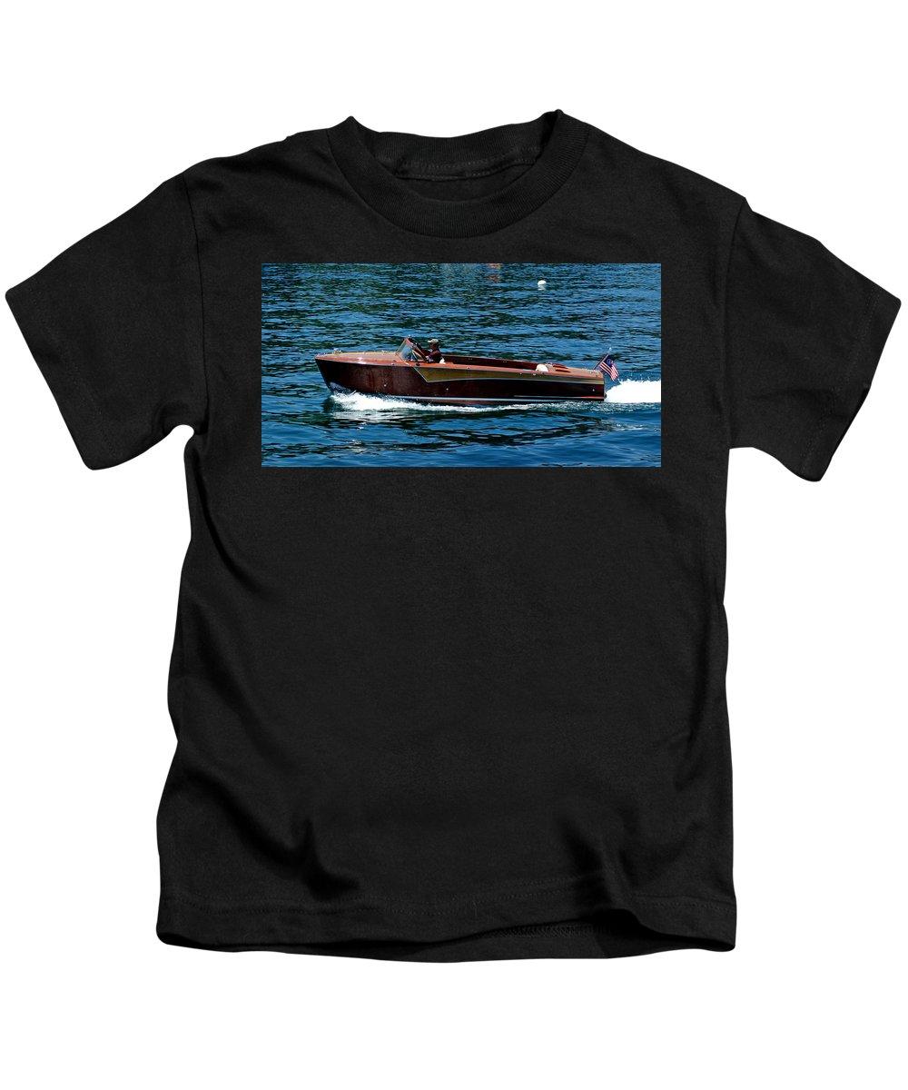 Usa Kids T-Shirt featuring the photograph Wooden Boat Waves On Tahoe by LeeAnn McLaneGoetz McLaneGoetzStudioLLCcom