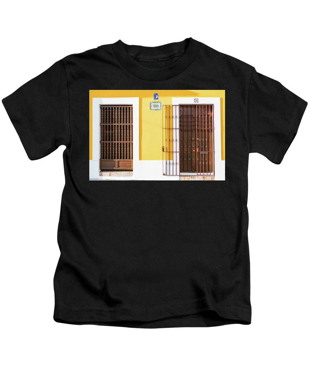 Wooden Doors Kids T-Shirt featuring the photograph Wooden Doors In Old San Juan, Puerto Rico by Jasmin Burton