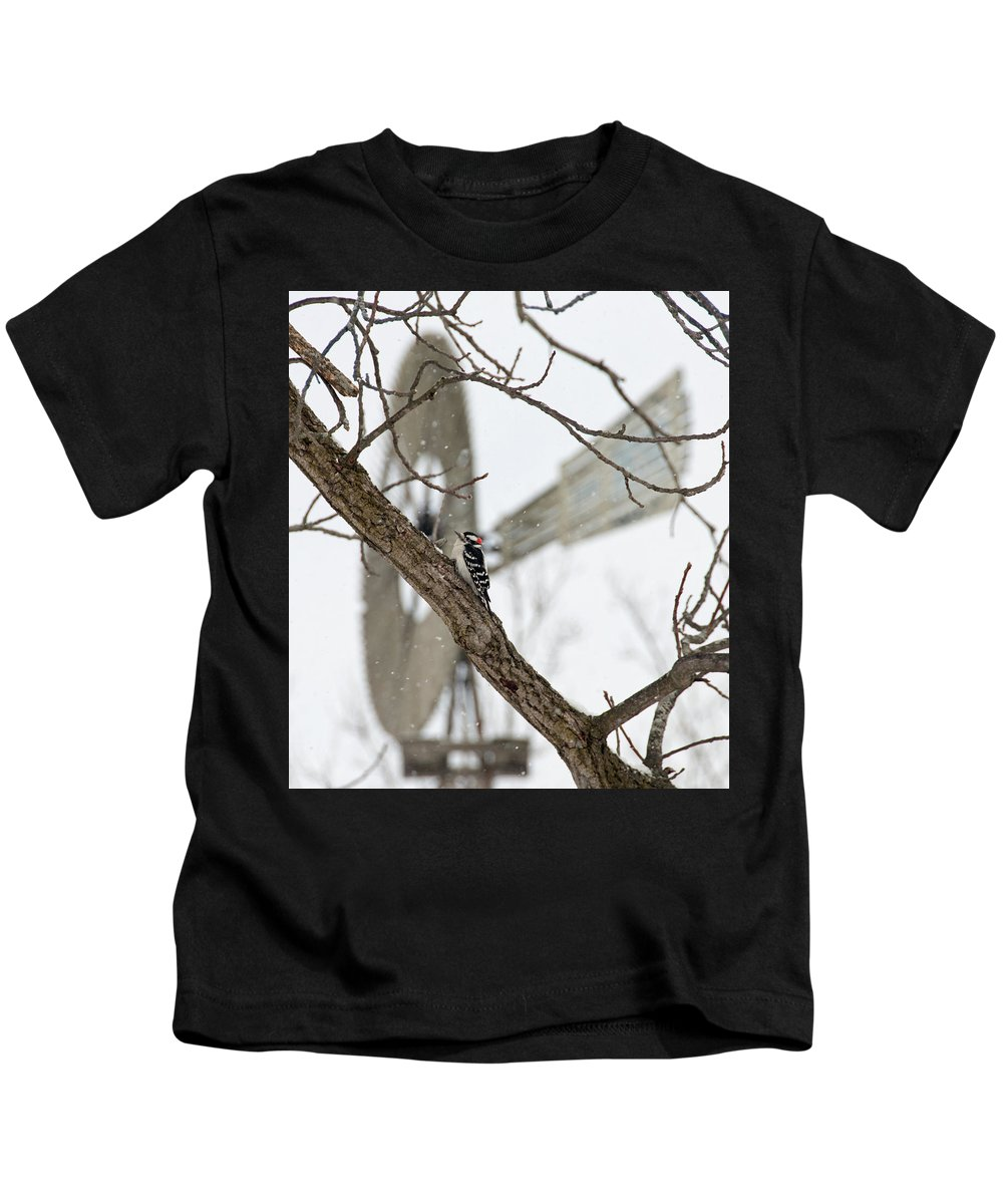 Windmill Kids T-Shirt featuring the photograph Woodpecker And Windmill by David Arment