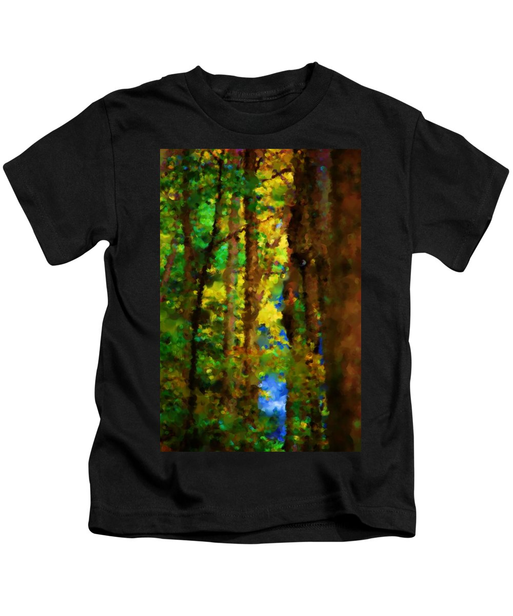Digital Photograph Kids T-Shirt featuring the photograph Woods Approach To Lake by David Lane