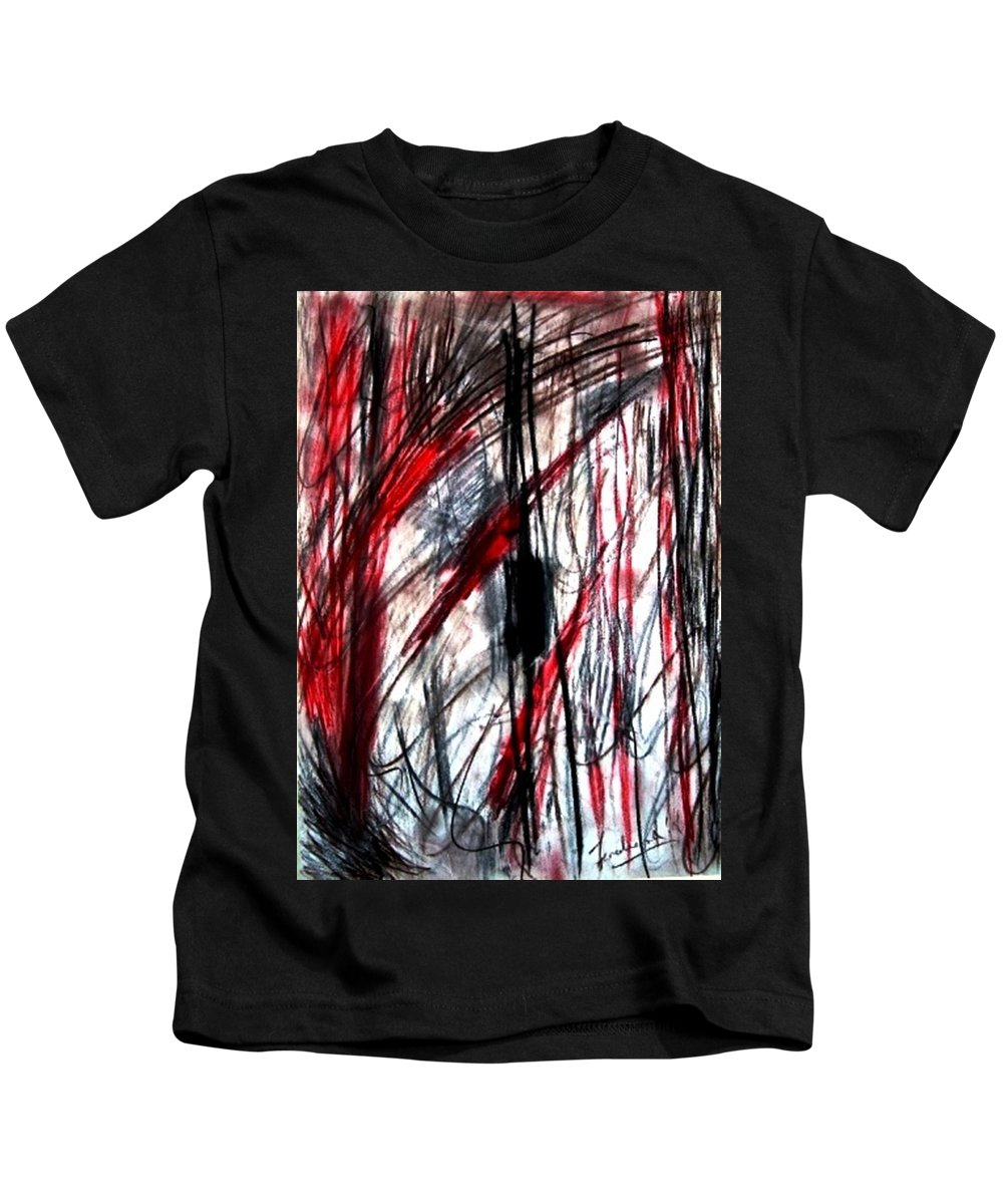Abstract Kids T-Shirt featuring the drawing Words by Fareeha Khawaja