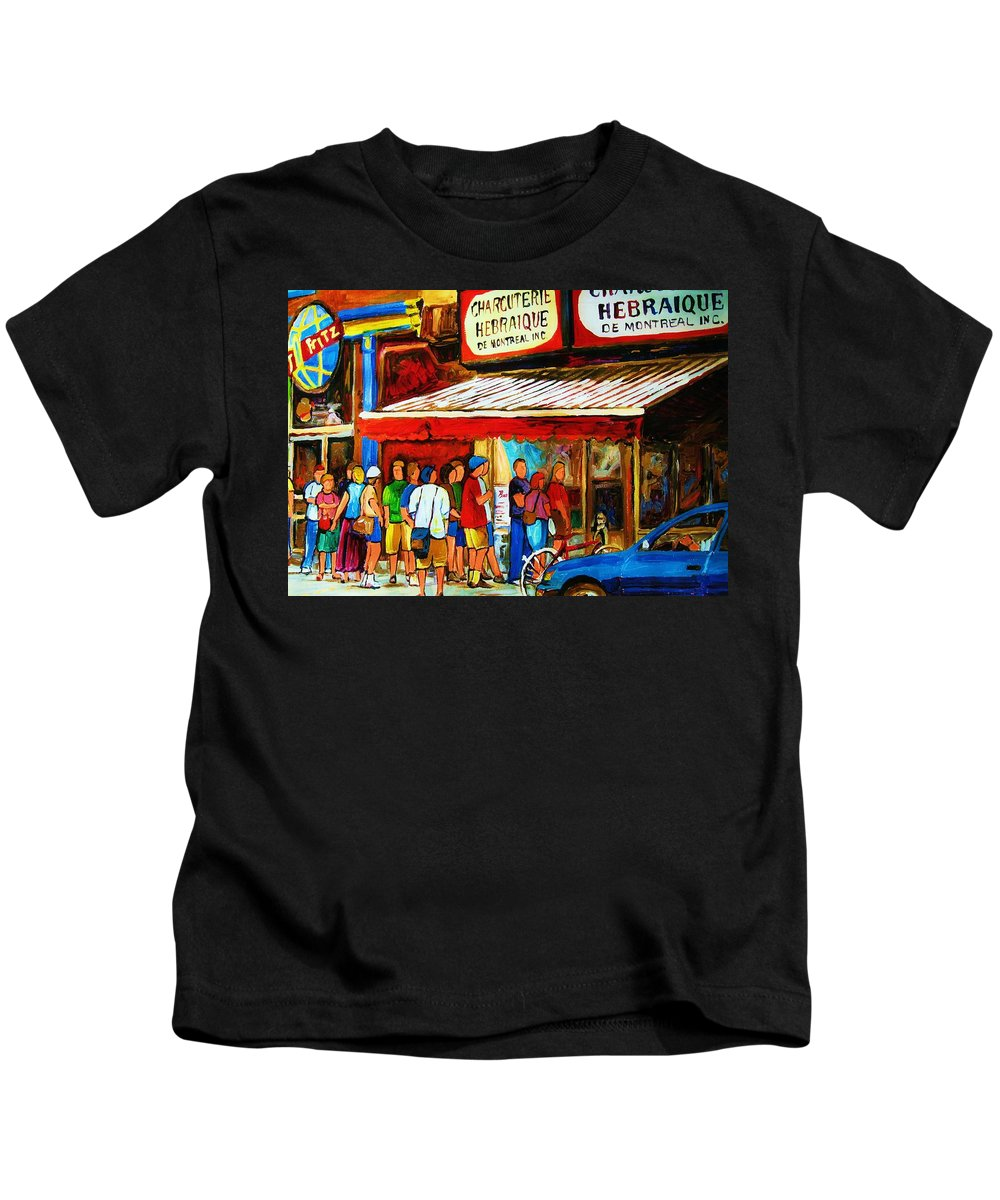 Montreal Streetscenes Kids T-Shirt featuring the painting Worth The Wait by Carole Spandau
