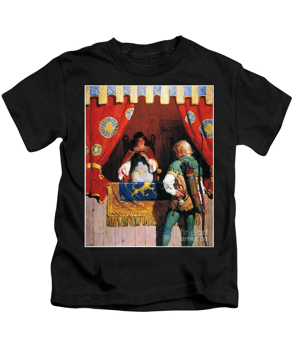 Kids T-Shirt featuring the painting Wyeth: Robin Hood & Marian by Granger