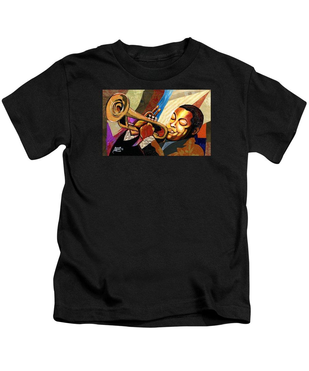 Everett Spruill Kids T-Shirt featuring the painting Wynton Marsalis by Everett Spruill