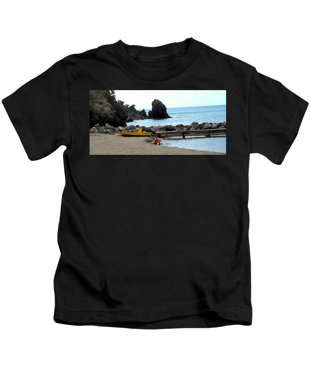 Beach Kids T-Shirt featuring the photograph Yellow Boat On The Beach by Ian MacDonald