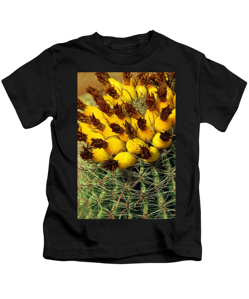 Cactus Kids T-Shirt featuring the photograph Yellow Cactus by Susanne Van Hulst