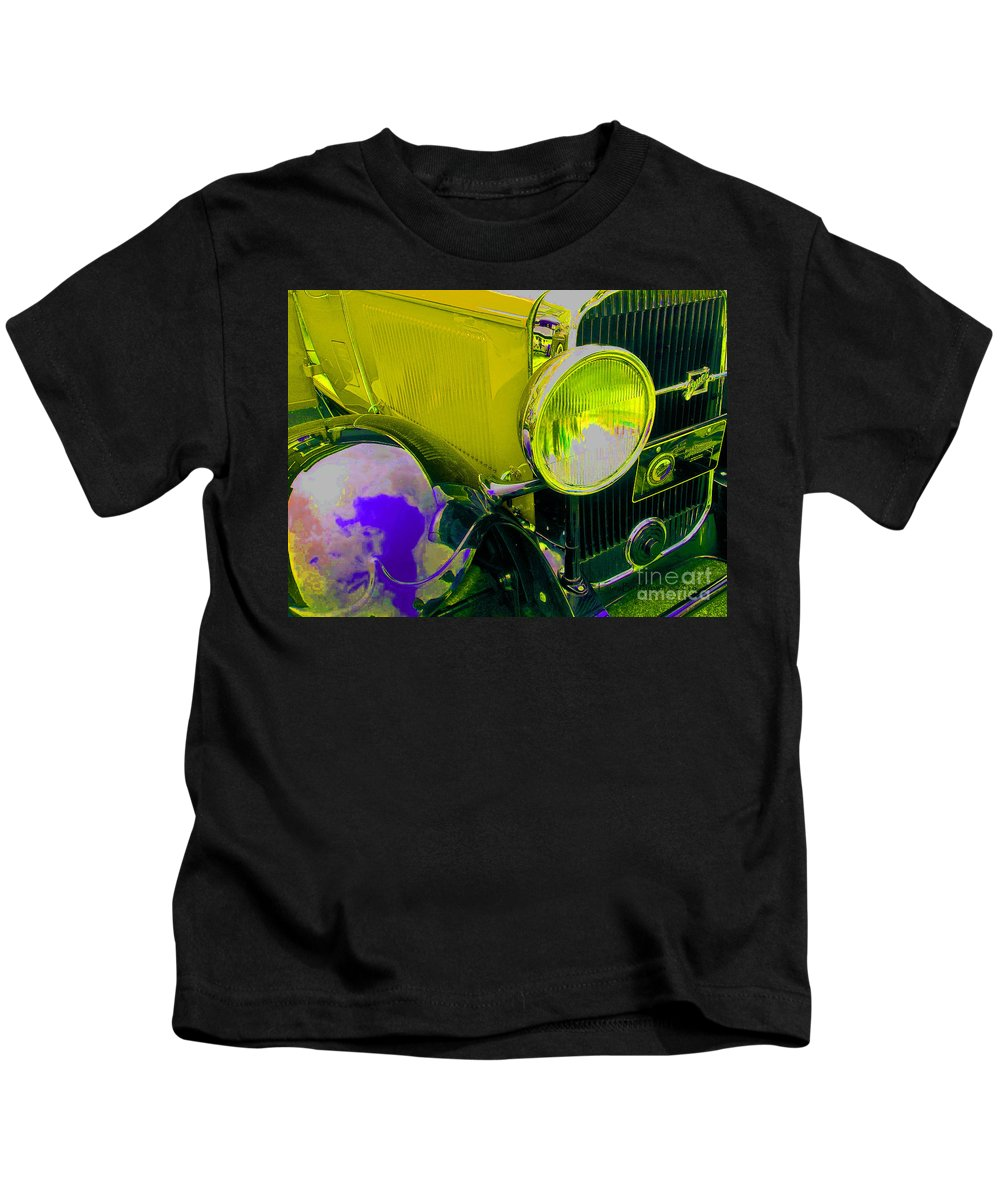 Automobile Kids T-Shirt featuring the photograph Yellow Cloud Reflection In Neon by Laura Birr Brown