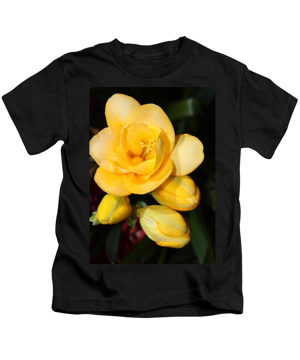 Easter Kids T-Shirt featuring the photograph Yellow Crocus Closeup by Carol Groenen