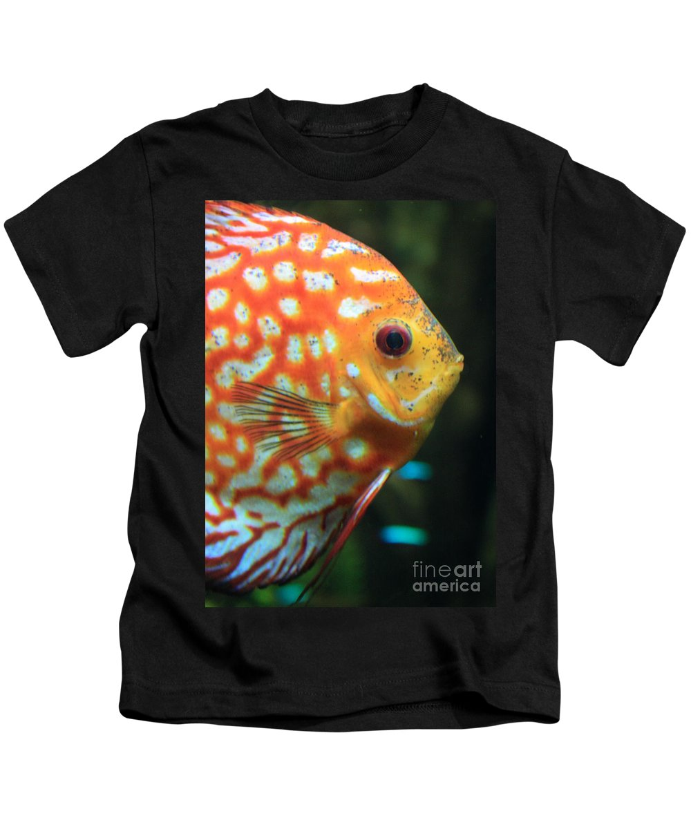 Carols Cards Kids T-Shirt featuring the greeting card Yellow Fish Profile by Carol Groenen