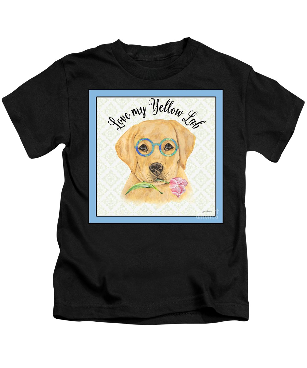 Yellow Lab Kids T-Shirt featuring the painting Yellow Lab-jp3869 by Jean Plout