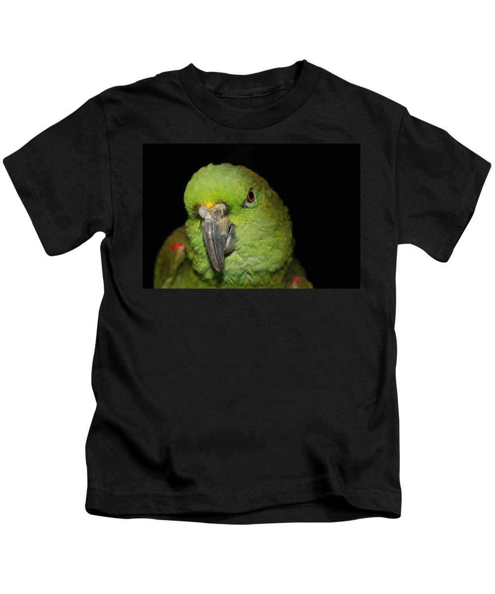 Yellow Kids T-Shirt featuring the photograph Yellow-naped Amazon Parrot by Alexander Butler