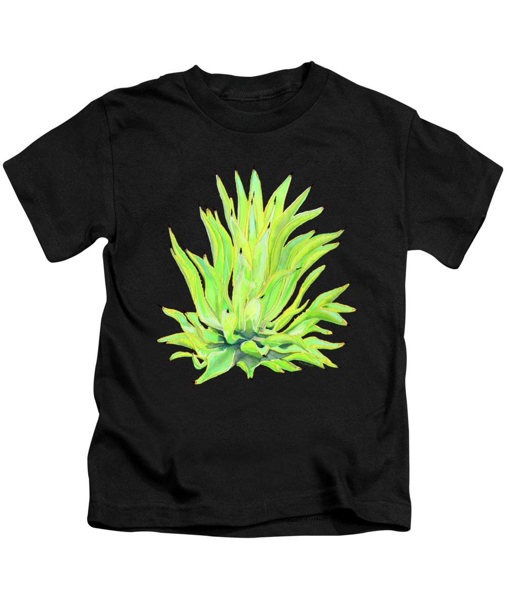 Agave Kids T-Shirt featuring the painting Yellow Octopus Agave by Kate LeVering