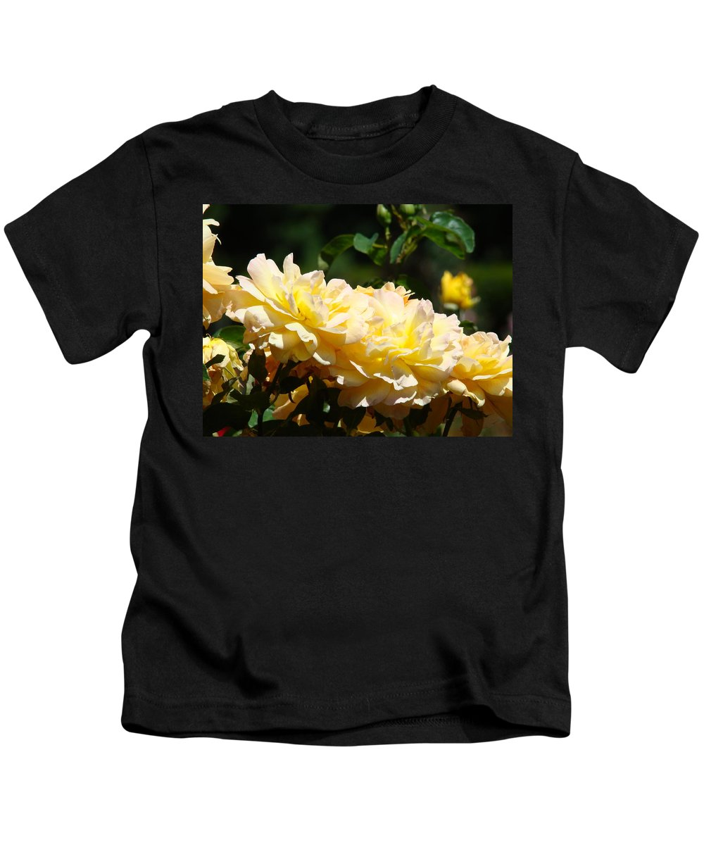 Rose Kids T-Shirt featuring the photograph Yellow Roses Sunlit Rose Flowers 1 Rose Garden Giclee Artwork Baslee Troutman by Baslee Troutman