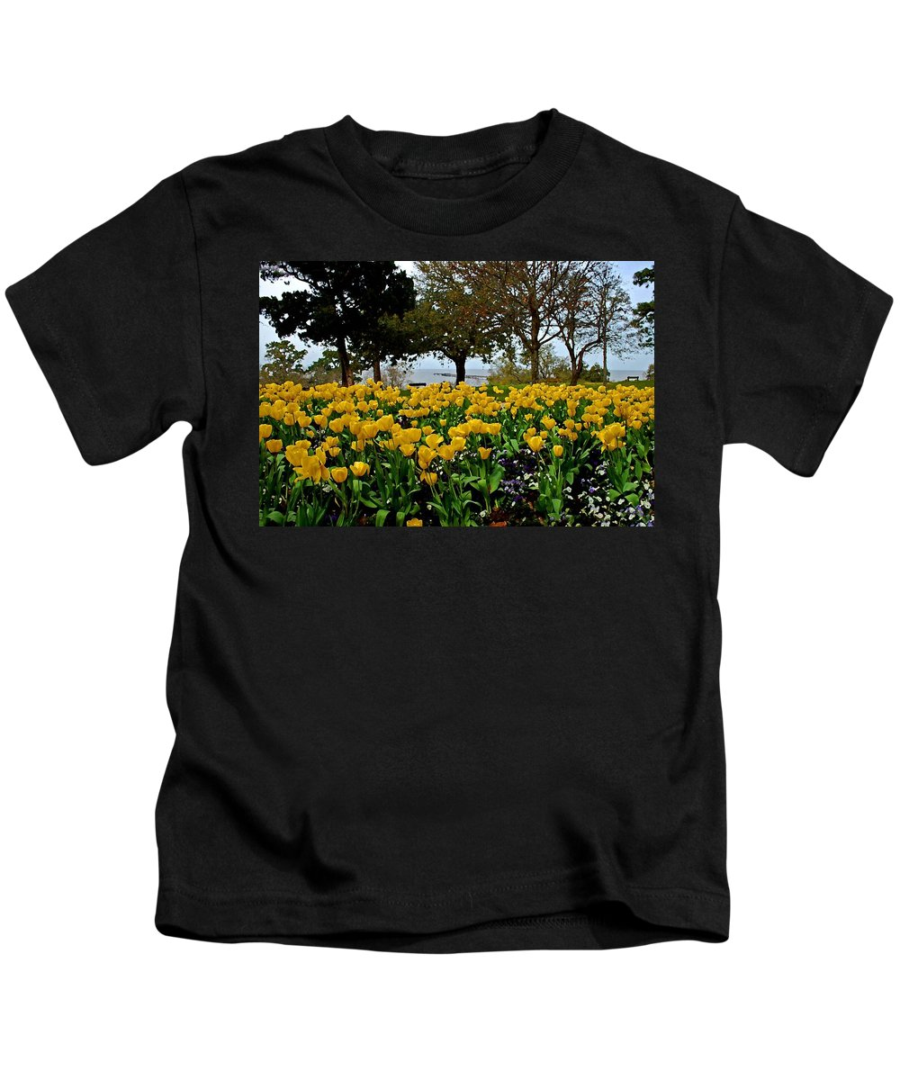 Fairhope Kids T-Shirt featuring the painting Yellow Tulips Of Fairhope Alabama by Michael Thomas