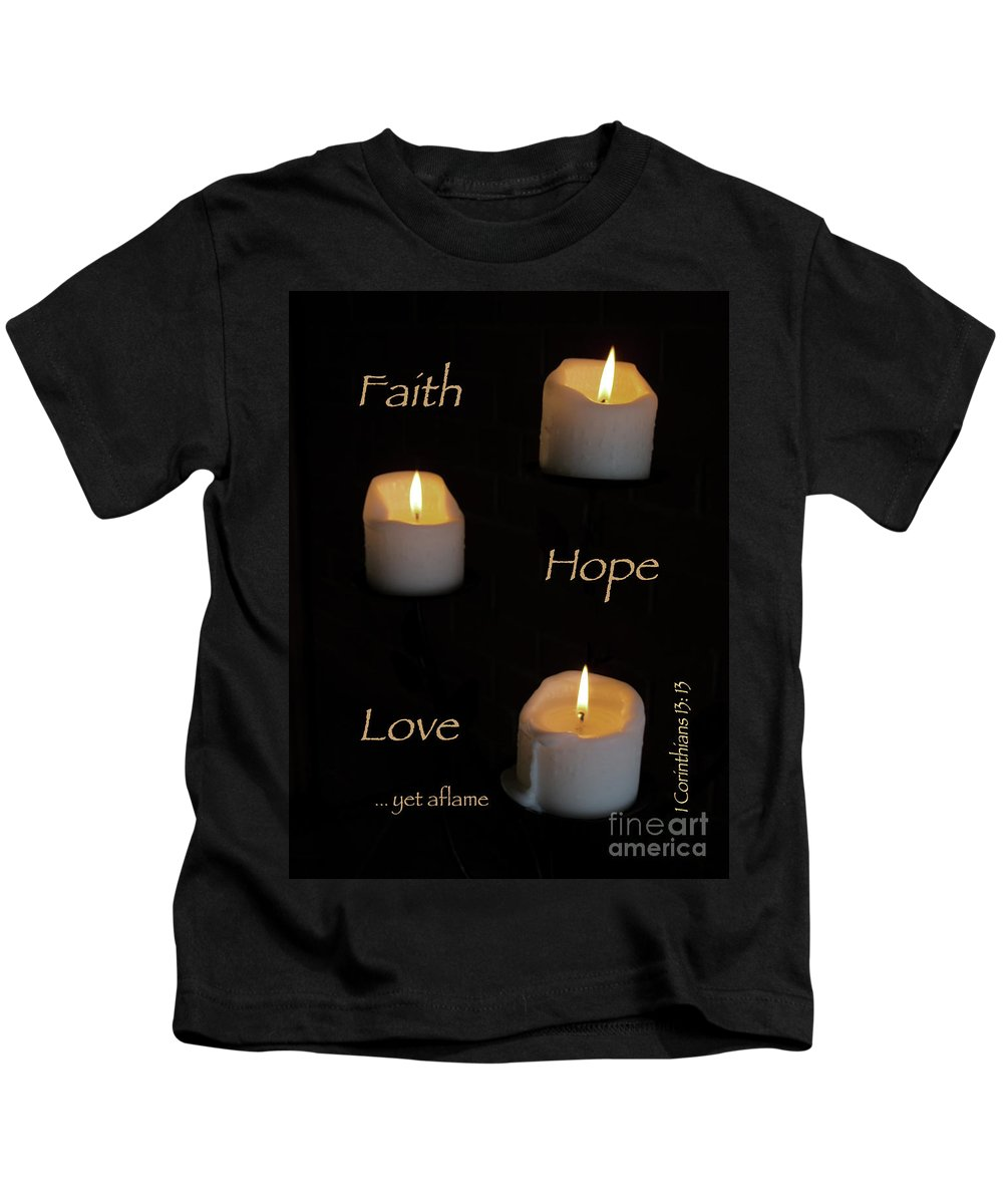 Candle Kids T-Shirt featuring the photograph Yet Aflame by Ann Horn