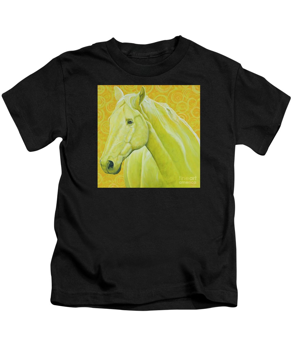 Horse Kids T-Shirt featuring the painting Lemonade by Christine Belt