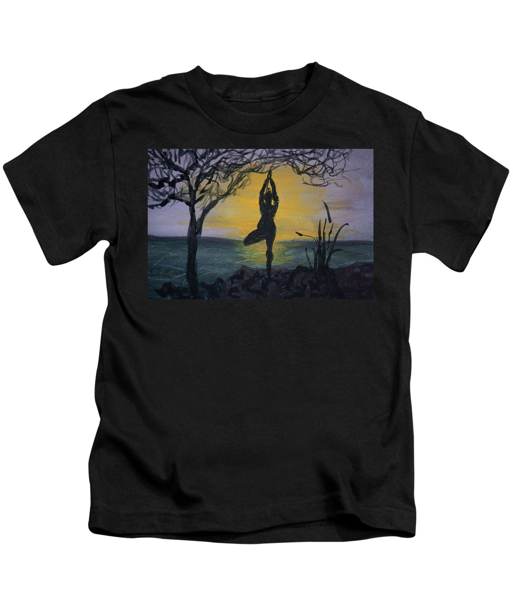 Yoga Tree Pose Kids T-Shirt featuring the painting Yoga Tree Pose by Donna Walsh