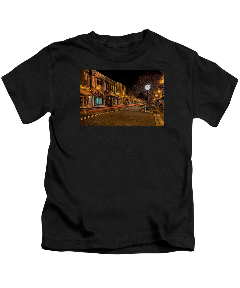 Downtown Kids T-Shirt featuring the photograph York South Carolina Downtown During Christmas by Alex Grichenko