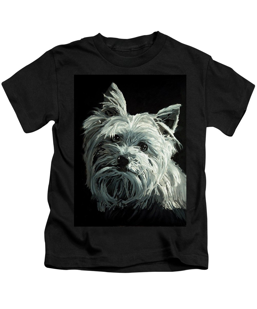 Animals Kids T-Shirt featuring the painting Yorkie by Portraits By NC