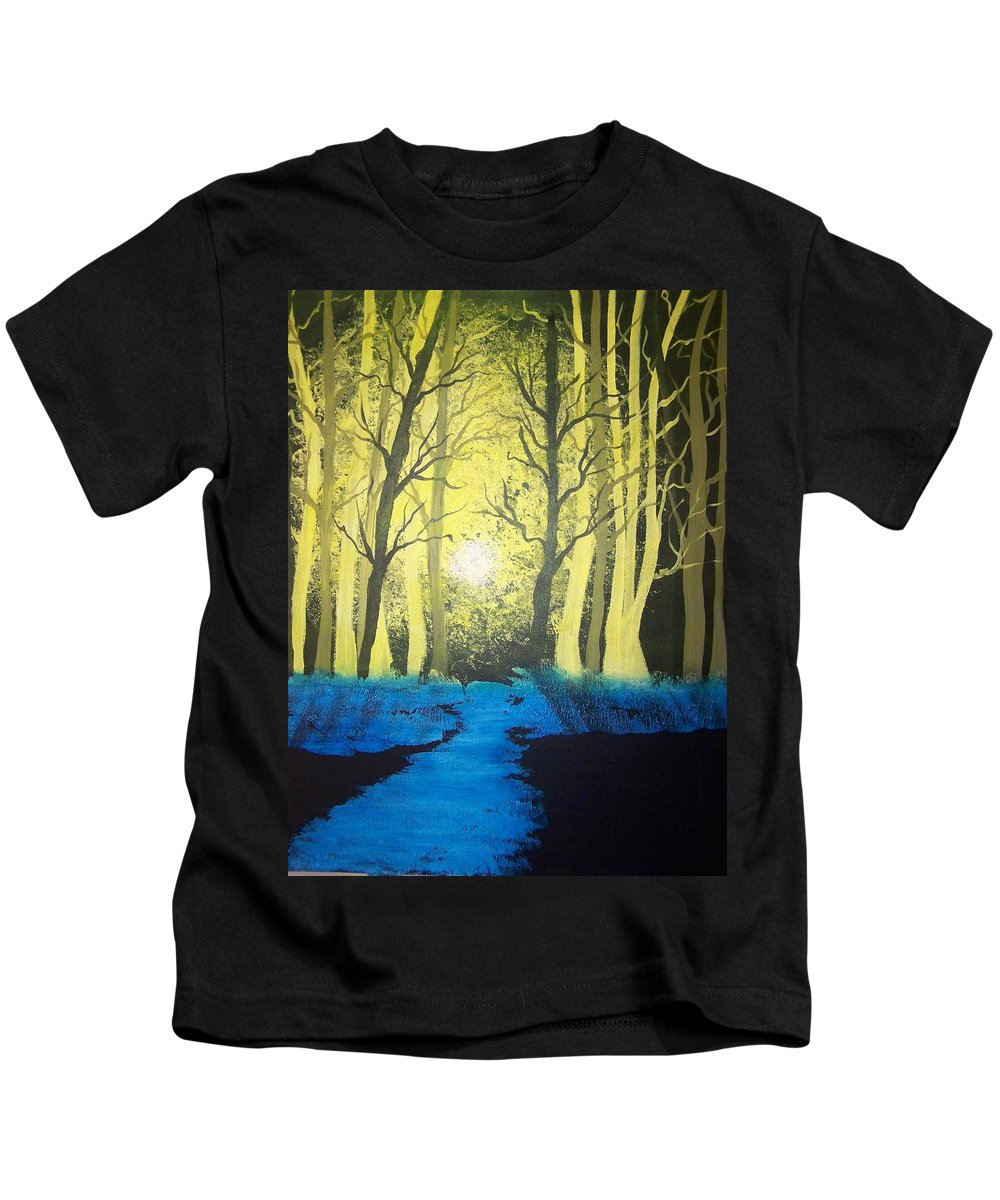 Forest Kids T-Shirt featuring the painting You Cant See The Forest For The Trees by Laurie Kidd