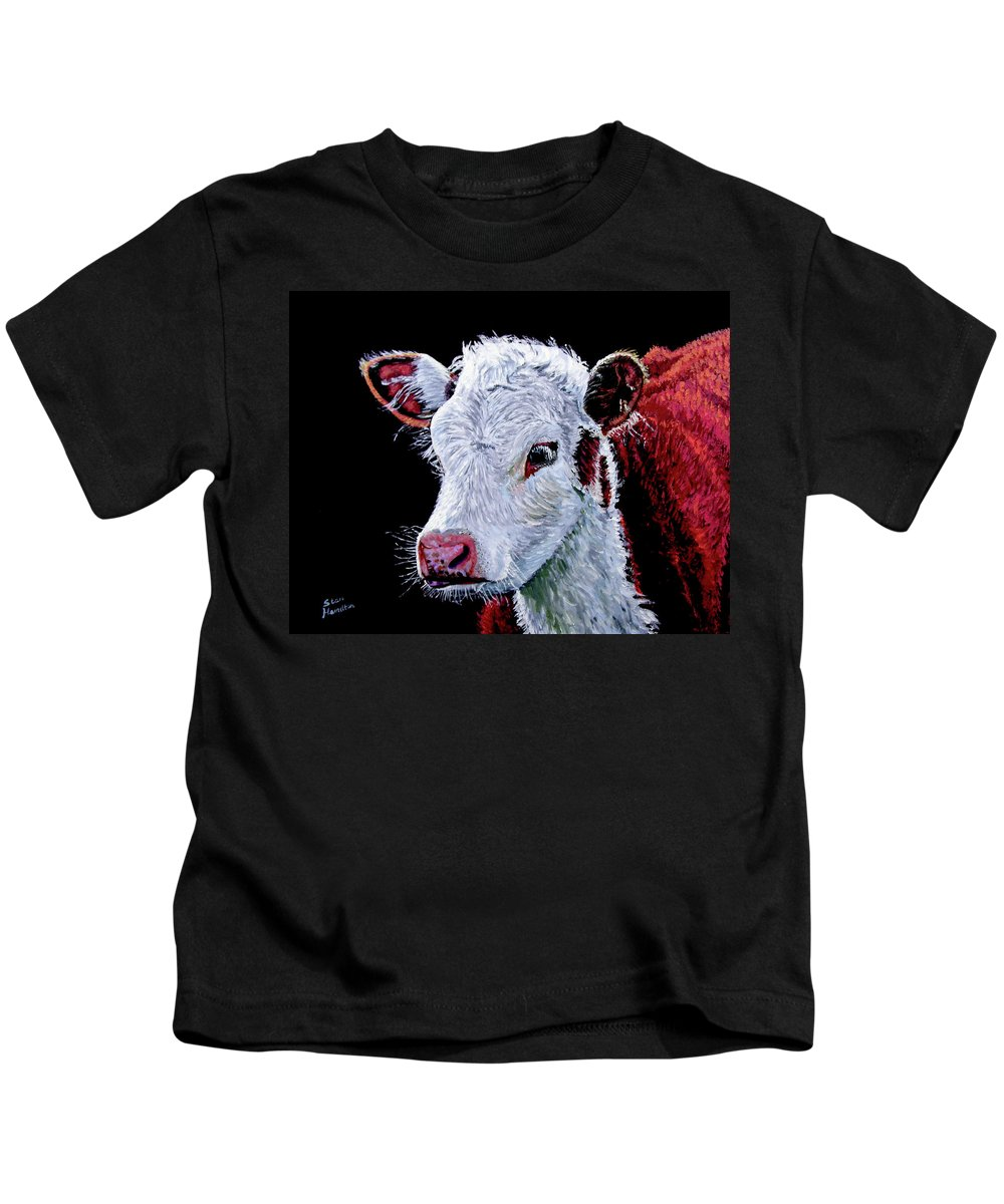 Calf Kids T-Shirt featuring the painting Young Bull by Stan Hamilton