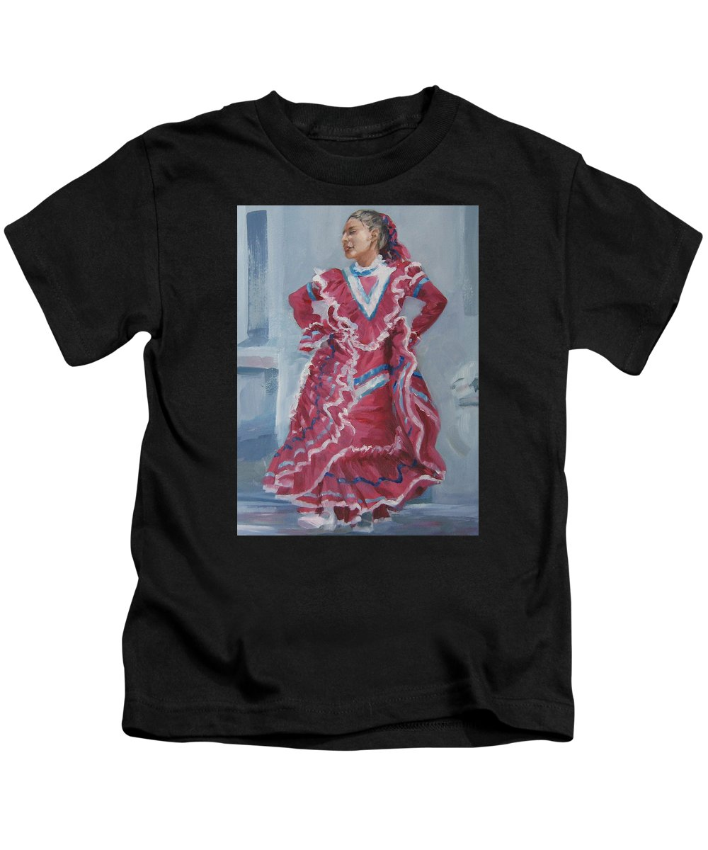 San Antonio Kids T-Shirt featuring the painting Young Dancer At Arneson Theater by Connie Schaertl