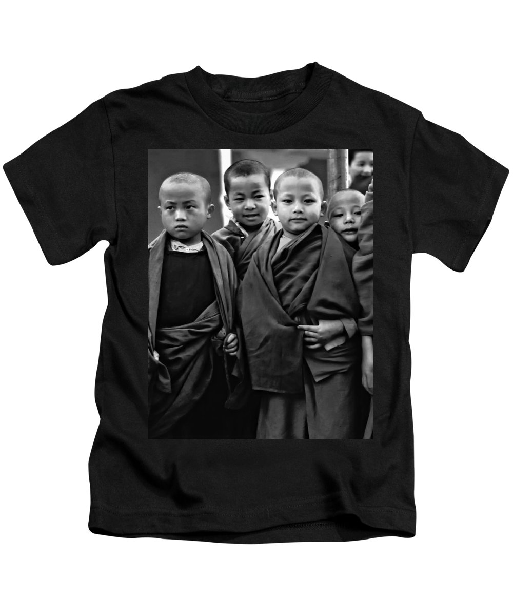 Buddhism Kids T-Shirt featuring the photograph Young Monks II Bw by Steve Harrington